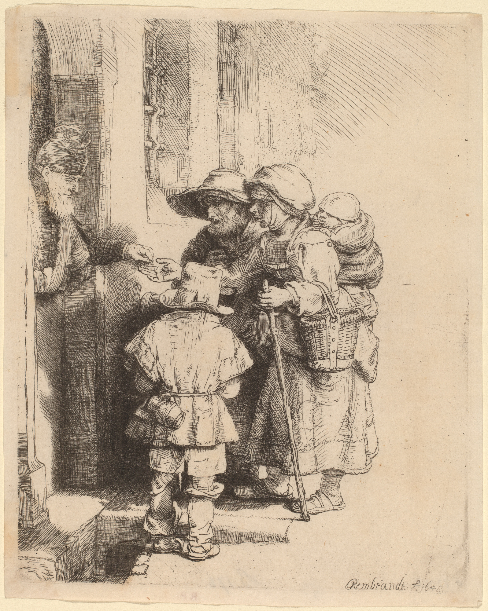 "Rembrandt van Rijn, ""Beggars Receiving Alms at the Door of a House,"" 1648, etching, engraving, and drypoint (image: Courtesy National Gallery of Art, Washington)"