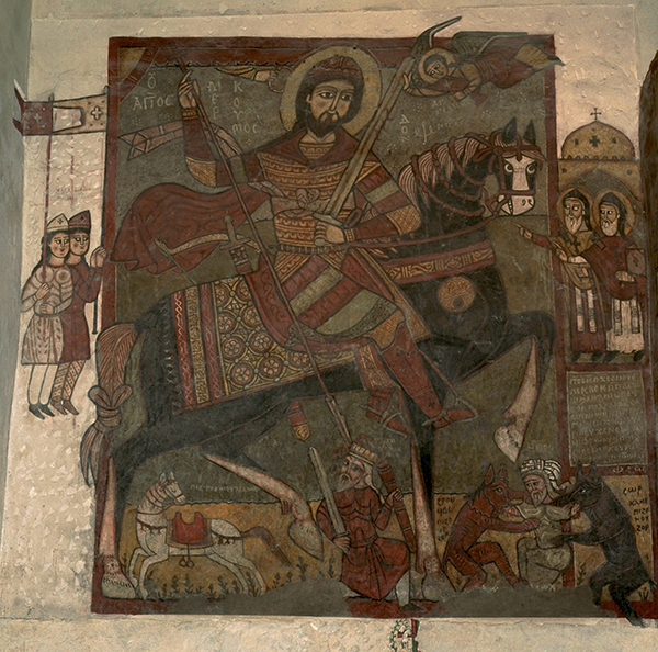 St. Mecurios slaying Julian the Apostate, Monastery of St. Antony at the Red Sea, Egypt, main church wall painting, 13th century (image © Heather Badamo)