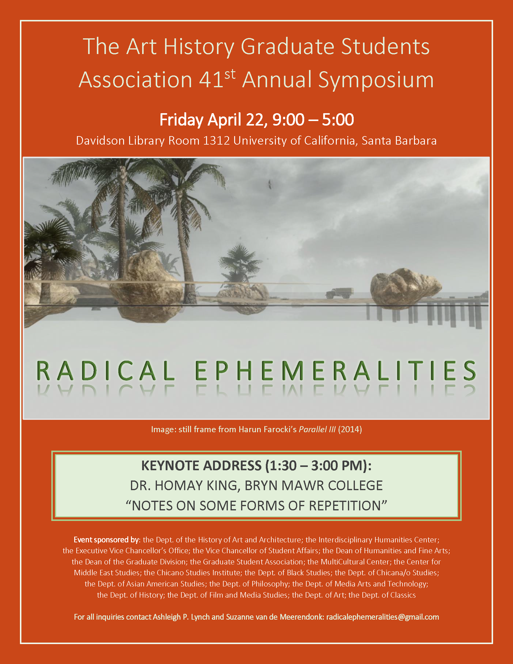 "Poster for the 41st Annual Symposium of the Art History Graduate Student Association (AHGSA): ""Radical Ephemeralities"""