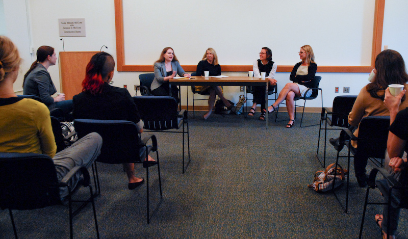 Panelists fielding questions at The Second Annual Art History Graduate Student Association Alumni Panel