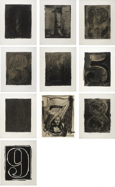 Jasper Johns, Black Numeral Series (0–9), 1968/70, Los Angeles County Museum of Art, gift of the 2006 Collectors Committee, art © Jasper Johns and Gemini G.E.L./Licensed by VAGA, New York, NY, published by Gemini G.E.L.