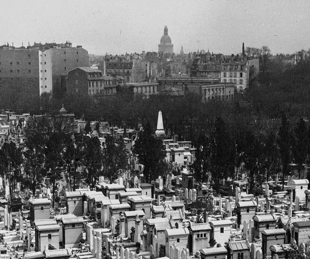 View of Montparnasse cemetery in 1932 with the tomb of Dumont d'Urville seen protruding in the center [Agence de presse Mondial Photo-Presse]