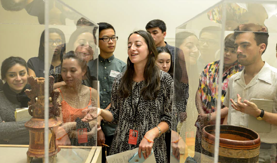 Lilia Taboada (2014-2016 Mellon Undergraduate Curatorial Fellow) giving a tour to the 2016 Summer Academy. Photo © Museum Associates/ LACMA.