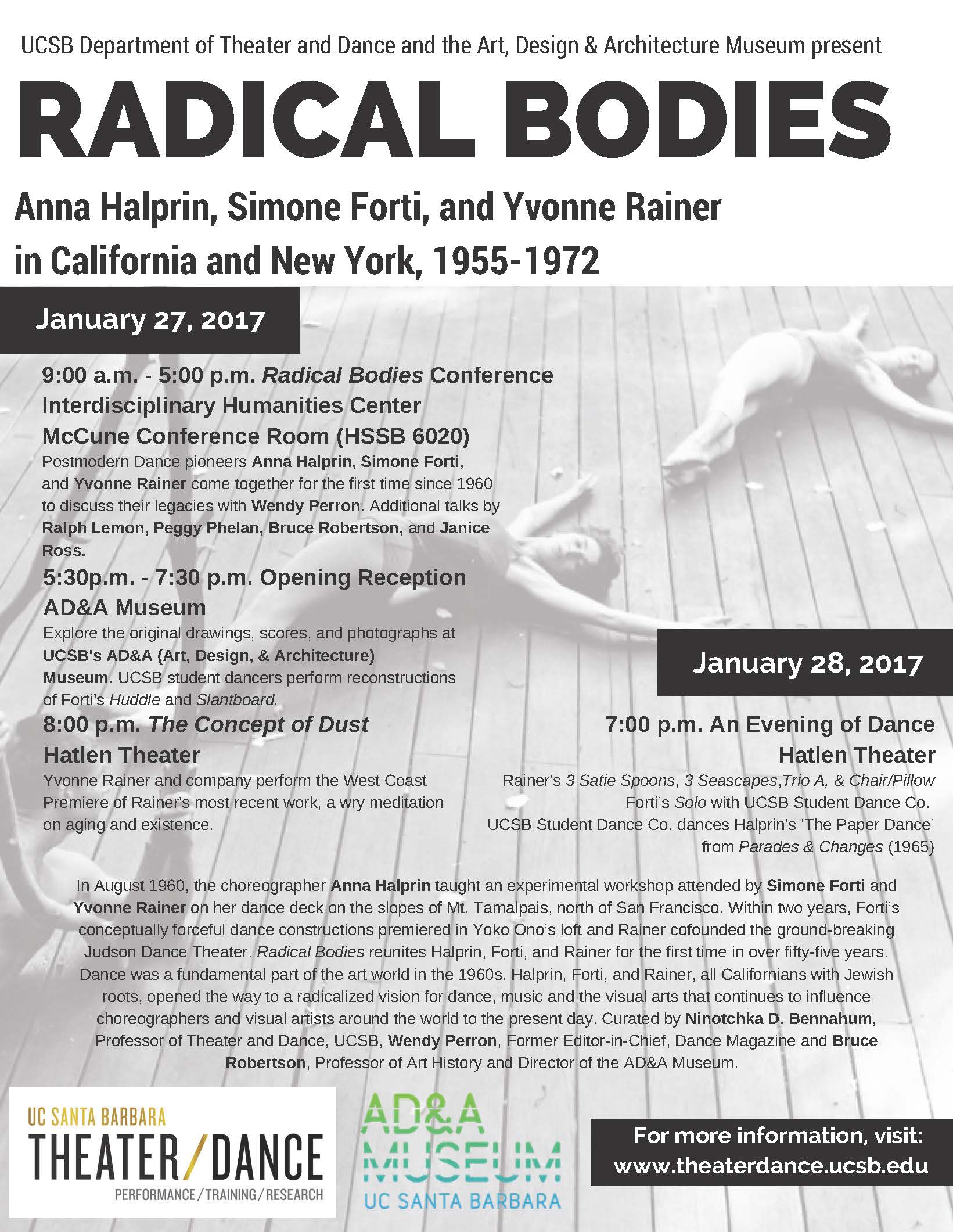 CONFERENCE: Radical Bodies: Anna Halprin; Simone Forti; Yvonne Rainer in CA and NY 1955 – 1972