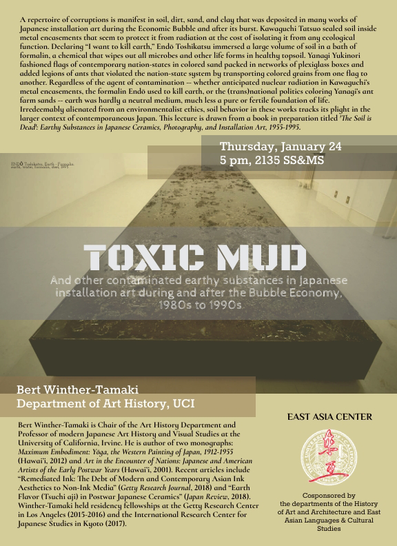 Bert Winther-Tamaki, Toxic Mud and other contaminated earthy substances in Japanese installation art during and after the Bubble Economy, 1980s to 1990s, Thursday, January 24 @ 5:00, 2135 SS&MS