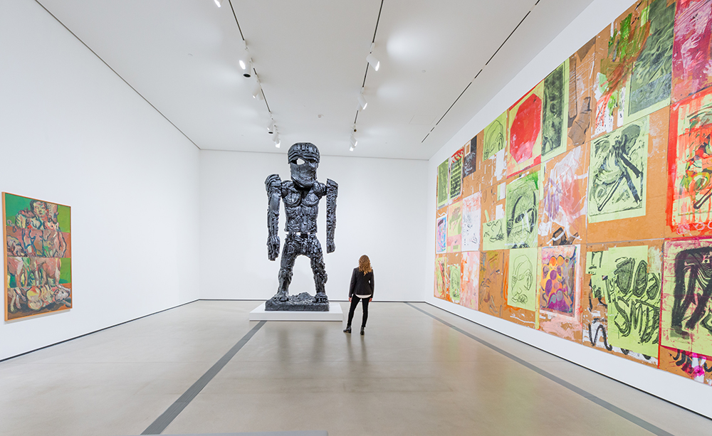 Creature, collection installation view featuring works by (left to right) Georg Baselitz, Thomas Houseago and Josh Smith (photo by Ben Gibbs, courtesy The Broad)
