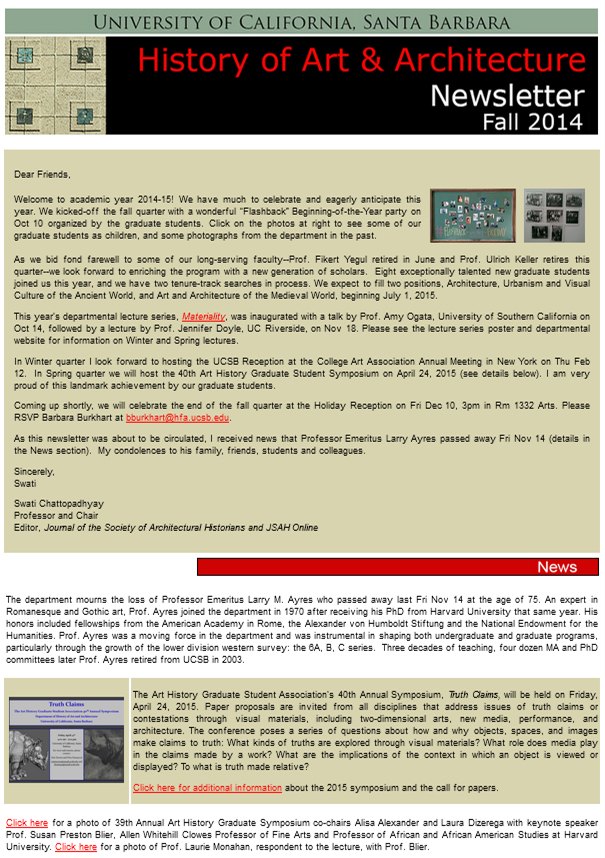UCSB History of Art & Architecture Fall 2014 Newsletter