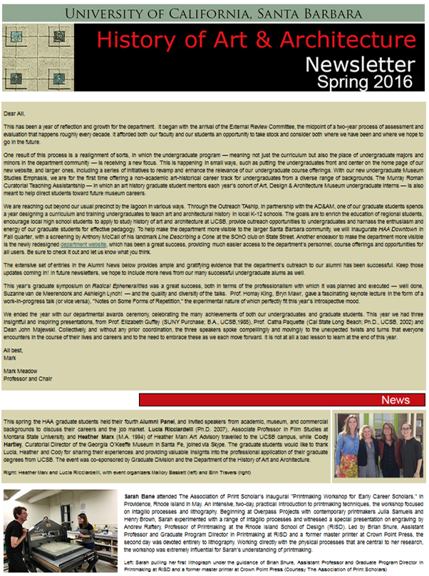UCSB History of Art & Architecture Spring 2016 Newsletter