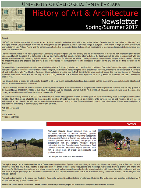 UCSB History of Art & Architecture Spring/Summer 2017 Newsletter