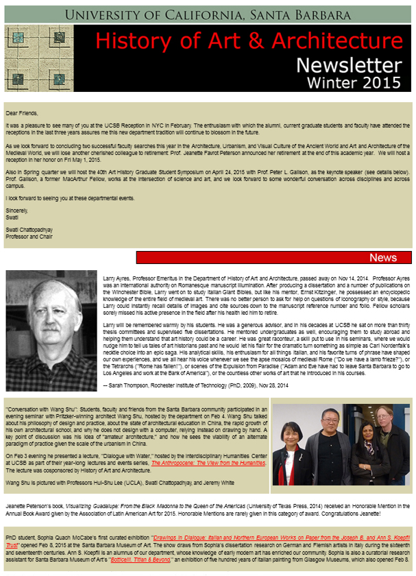 UCSB History of Art & Architecture Winter 2015 Newsletter