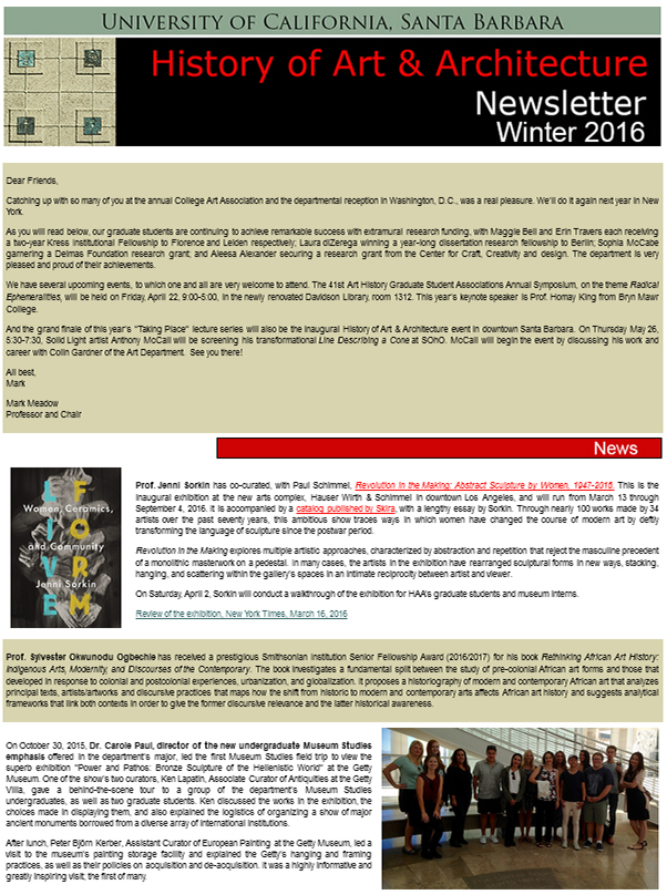UCSB History of Art & Architecture Winter 2016 Newsletter