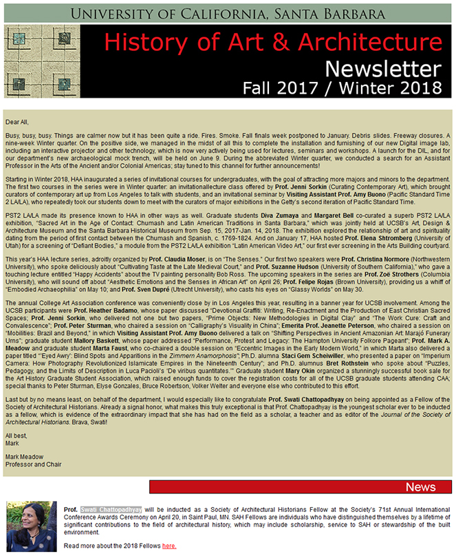 UCSB History of Art & Architecture Fall 2017/Winter 2018 Newsletter