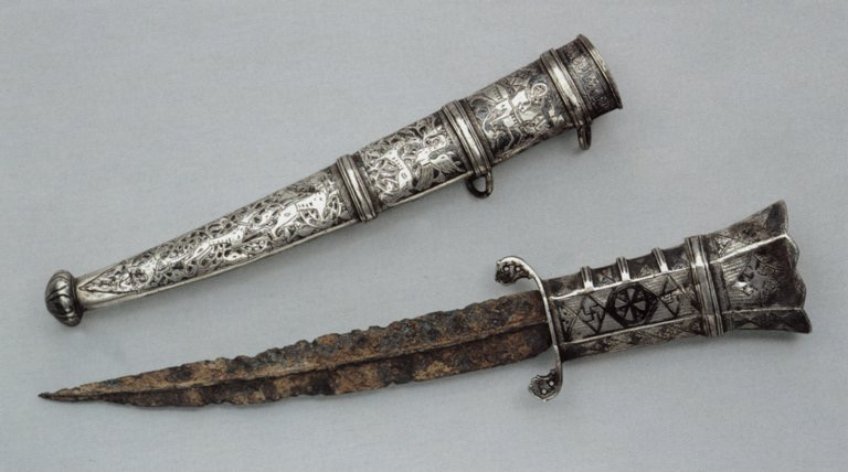 Dagger and Scabbard with image of St George (or St Theodore) and Arabic Inscription, Syria, Palestine or Anatolia, 13th century. Furusiyya Art Foundation, Vaduz  (© Heather Badamo)